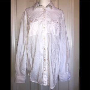 St. John's Bay white dot button down shirt size L